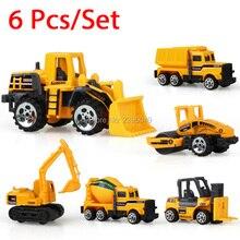 New 6pcs lot Mini Engineering Pull Back font b Toy b font Excavator Forklift Burrow Truck