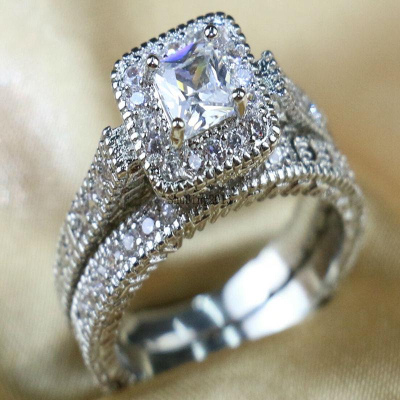 white gold filled princess cut cz wedding band womens engagement ring sets bridal sets 3 5 days to usa - Princess Wedding Ring