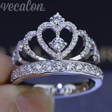 Vecalon 2016 Female Crown ring AAAAA Zircon Cz 925 Sterling Silver Engagement wedding Band ring for women