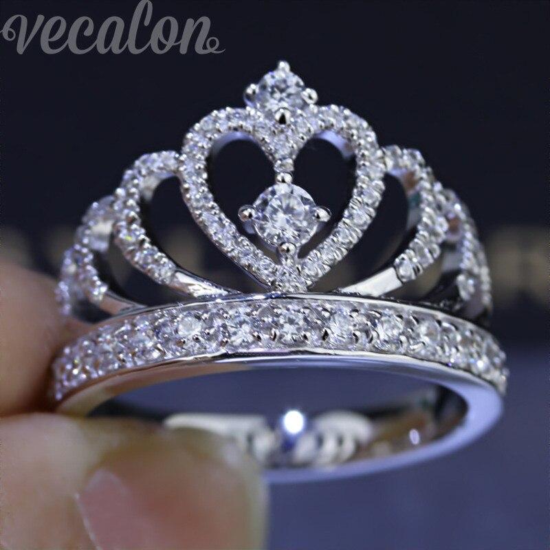 Vecalon 2016 Femelle Couronne anneau AAAAA Zircon Cz 925 En Argent Sterling Engagement Band anneau de mariage pour les femmes