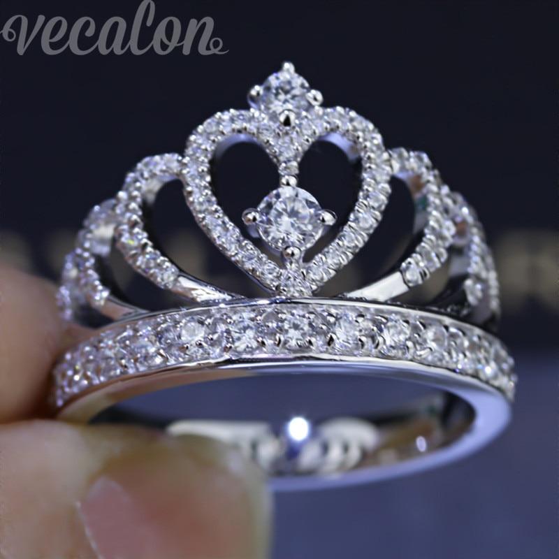 Vecalon 2016 Femminile Corona anello AAAAA Zircone Cz 925 Sterling Silver Fidanzamento wedding Band ring per le donne