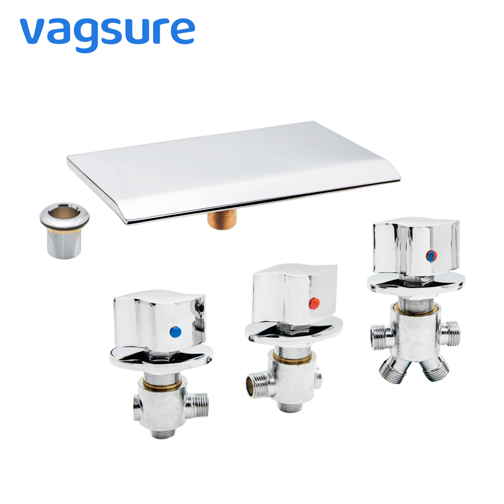 Vagsure Water Brass Control Valve Cold and Hot Tap Bathtub Faucet Triple Handle Faucet Shower Cabin Mixer Faucet BathroomVagsure Water Brass Control Valve Cold and Hot Tap Bathtub Faucet Triple Handle Faucet Shower Cabin Mixer Faucet Bathroom