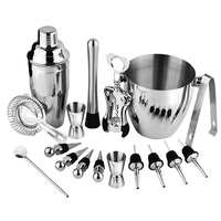 Bartender Kit, 17 Pieces Cocktail Bar Set Stainless Steel Shaker Set includes 24oz Martini Cocktail Shaker, 50oz Ice Bucket, D