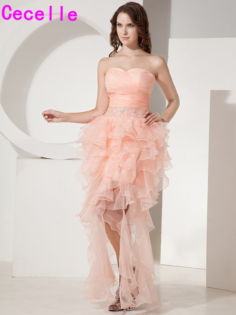 Coral High Low Cocktail Dresses Short Sweetheart Prom Dresses Ruffles Organza Cocktail Party Dresses 2019 Corset Back Custom