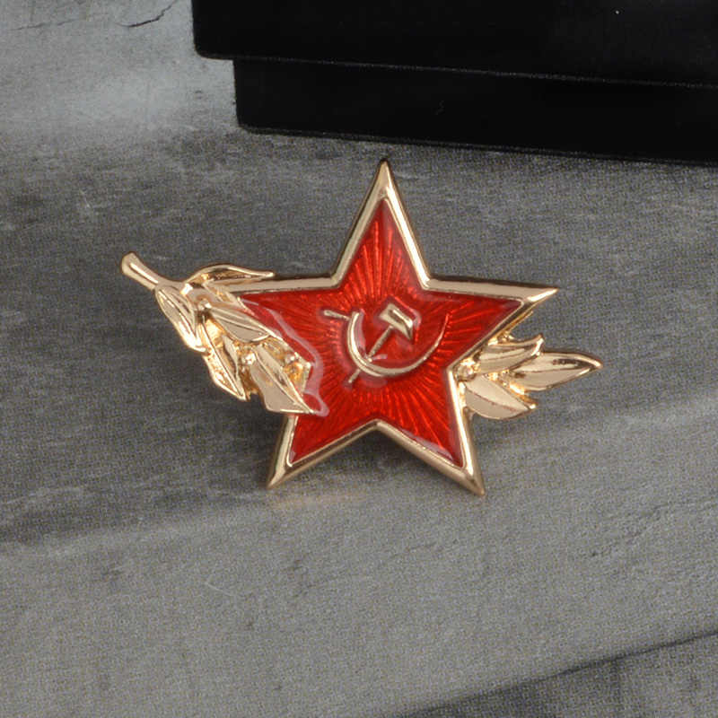Perang Dunia II Soviet Soviet Pro Kitty Beras Telinga Merah Bintang Sabit Hammer Logam Enamel Bros Kostum Ransel Lencana Perhiasan Pin