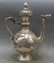 Details about  11″ Chinese Dynasty Palace Silver Dragon handle Phoenix Wine Tea Pot Flagon