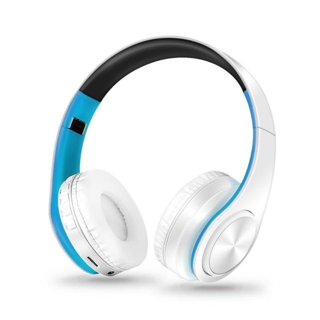 หูฟังไร้สายสเตอริโอบลูทูธหูฟังรองรับหูฟัง SD Card เล่นสำหรับโทรศัพท์มือถือแล็ปท็อป PC พร้อมไมโครโฟน