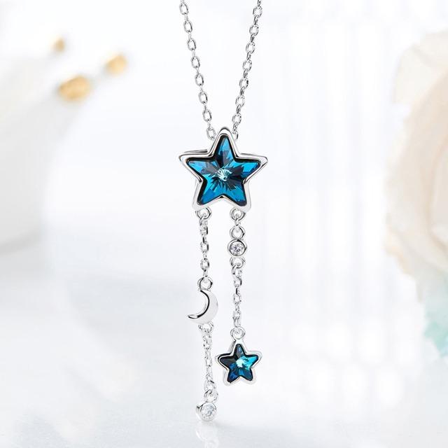 Náhrdelník MODRÁ HVIEZDA kryštál SWAROVSKi 2farby Pendant Necklace BLUE STAR