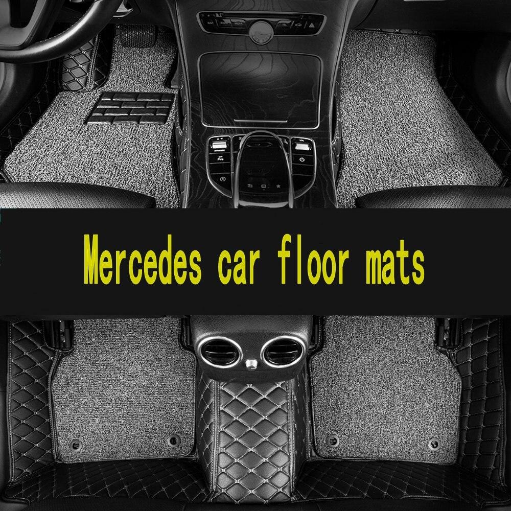 Tapis de sol de voiture logo personnalisé pour Mercedes Benz tous les modèles A160 180 B200 c200 c300 E classe GLA GLE S500 GLK accessoires tapis de voiture