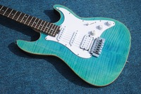 Free shipping electric guitar in 2018 new arrival flame maple tree top light blue guitar customization.