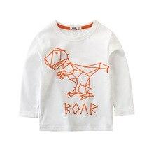 New Childrens T-Shirt Long Sleeve 100% Cotton Round Collar Cartoon Dinosaur Print Baby Girl Boy Casual Top Kids Clothes
