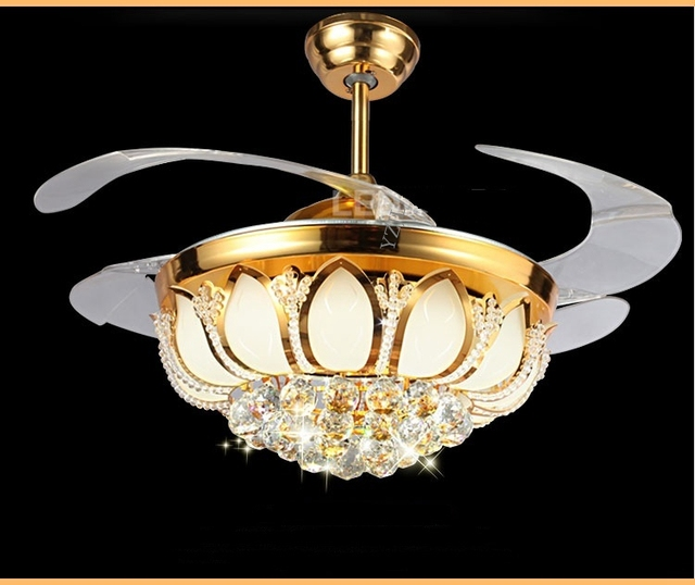 Golden crystal led stealth ceiling fan light 42inch fan crystal golden crystal led stealth ceiling fan light 42inch fan crystal light living room bedroom dining room aloadofball Image collections