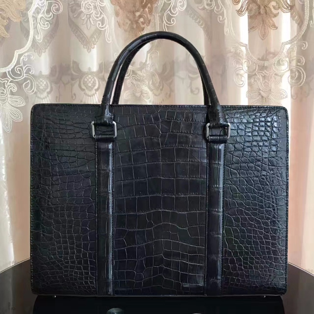 Laptop-Bag Briefcase-Bag Crocodile Business 100%Genuine Skin Black Men
