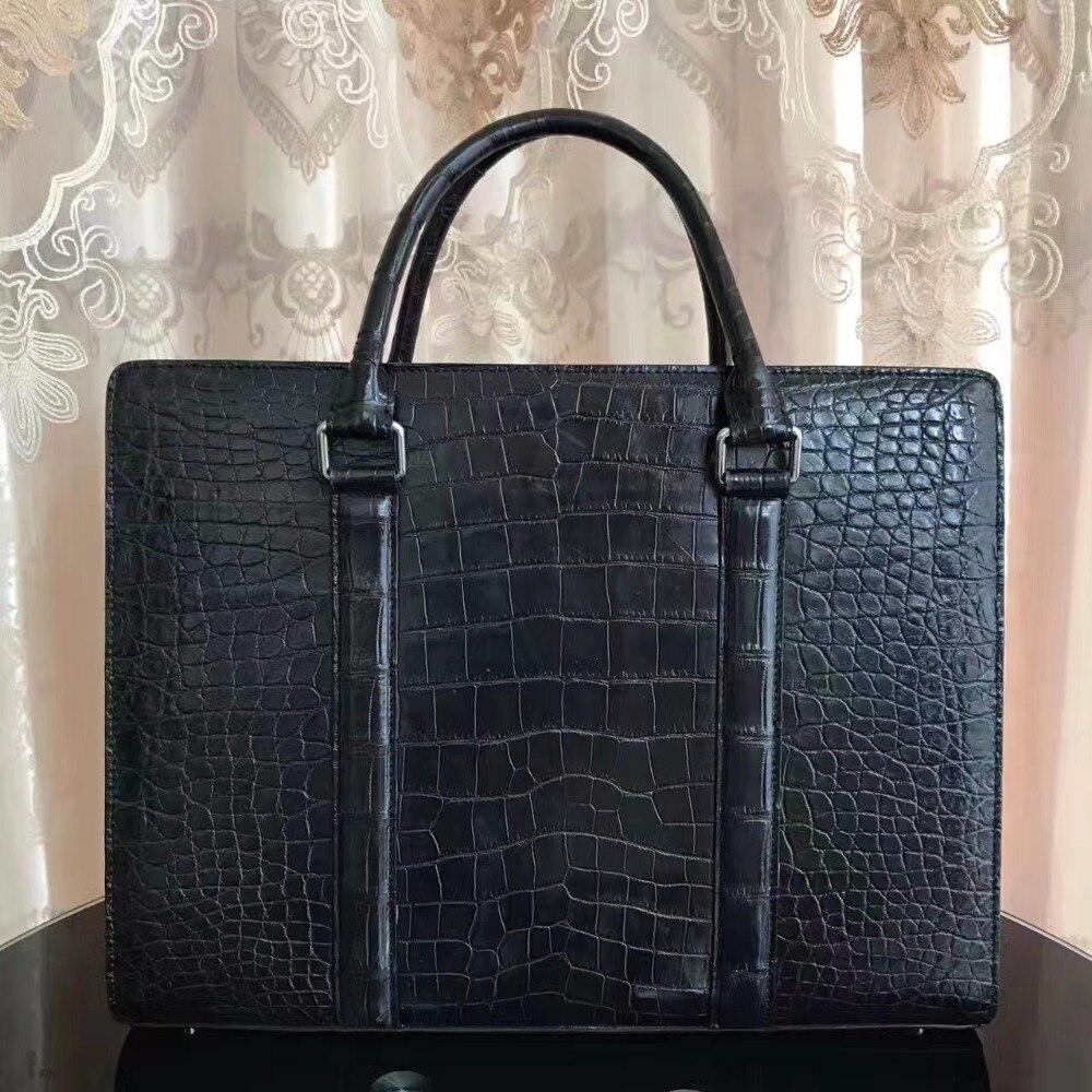 2017 Männer Business-tasche Schwarz Krokodil Bauchhaut Männer Aktentasche Tasche, 100% Echtem Leder Haut Männer Business Laptop Tasche