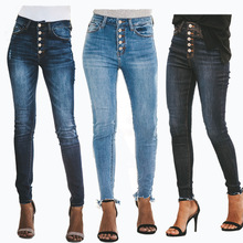 Summer new hot sale button ladies jeans Slim high waist casual hole female retro feet pants pencil