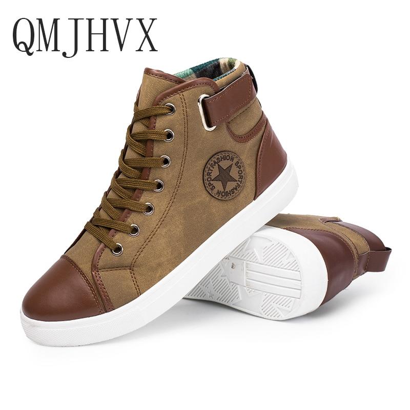 QMJHVX 2019 popular Fashion High Top Men Shoes Canvas Men Casual Shoes For Autumn Winter Male Footwear Martin boots