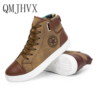 QMJHVX 2019 popular Fashion High Top Men Shoes Canvas Men Casual Shoes For Autumn Winter Male Footwear Martin boots