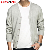 LONMMY 3XL Sweater Men V Neck Cotton 100 Casual Knitted Mens Cardigan Sweater Button Fashion Gray