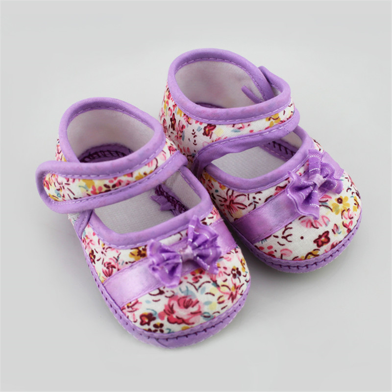 New Girls Flowers Bow Baby Toddler Shoes Spring Autumn Children Footwear First Walkers