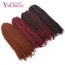 crochet braid hair ombre braiding hair kanekalon fake afro kinky curly hair marley bob 99J #118 color Yxcheris(China)