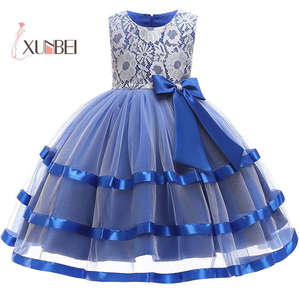 Princess Knee Length Ball Gown Blue Tulle   Flower     Girl     Dresses   2019 Lace Applique   Girls   Pageant   Dress   First Communion   Dresses