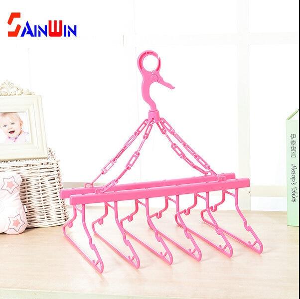 Sainwin child baby plastic hanger windproof slip-resistant storage drying rack multifunctional baby clothes racks