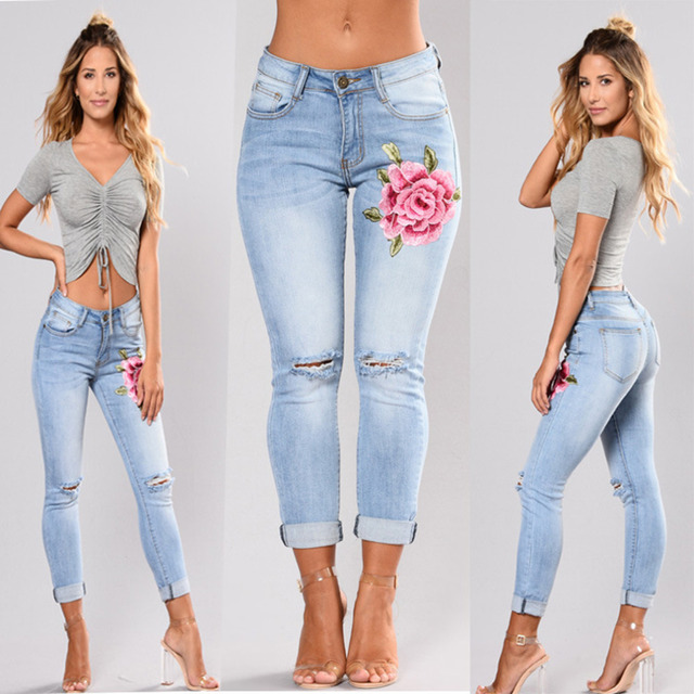 Denim Skinny Embroidery Stretch Jeans