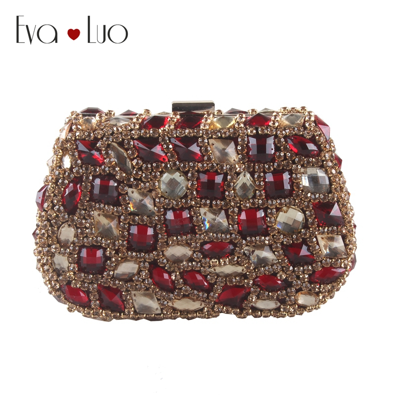 EB786 Custom Made Wine Red Gold Gold Crystal Evening Bag Clutch Bags  Clutches Lady Wedding Purse bf97e227da95