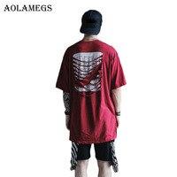 Aolamegs T Shirt Men Cut Off Casual Solid Men S T Shirts Boys Cotton Hip Hop