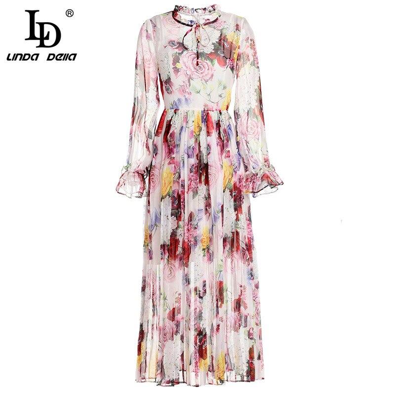 LD LINDA DELLA moda lato Runway elegancka sukienka damska z długim rękawem piękne kwiatowy Print szyfonowa plisowane połowy łydki sukienka w Suknie od Odzież damska na  Grupa 1