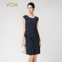 VOA 2017 New Fashion Fake Two Women Office Dress High Quality Sleeveless Knee Length Navy Blue