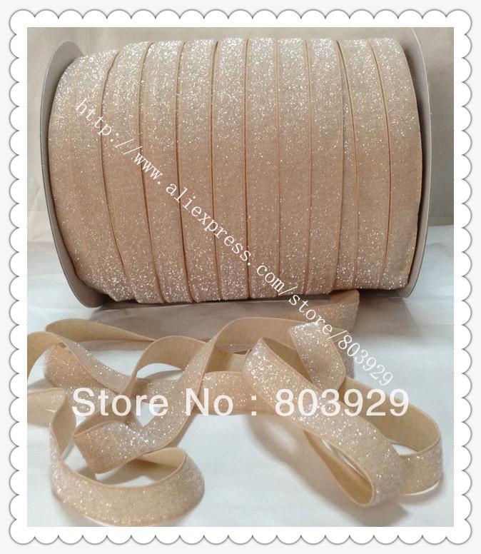 3 8 Elastic Frosted Tan Glitter Velvet Ribbon