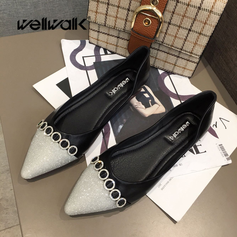 Wellwalk Women Flat Shoes Ladies Ballerinas Pointed Toe Crystal Chain Glitter Leather PU Mixed Color Female Summer Slip On Shoes