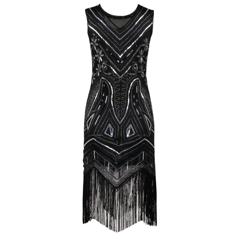 90s Style Flapper Dress Vintage Great Gatsby Charleston Sequin ...
