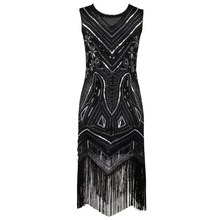 90s Style Flapper Dress Vintage Great Gatsby Charleston Sequin Tassel Party Knee-Length Dress black Sequined Bling Dress Vestido