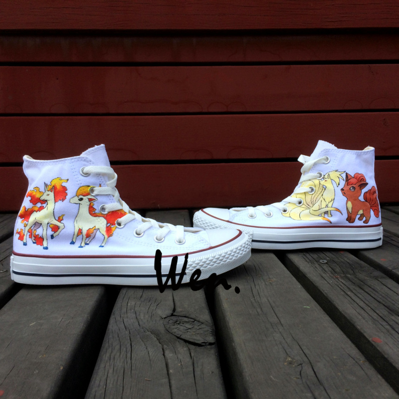 Wen Hand Painted Anime Shoes Pokemon Pocket Monster Rapidash Ponyta Ninetales Vulpix  High Top Men Women's Canvas Sneakers 5 pcs lot cartoon anime wallet wholesale nintendo game pocket monster charizard pikachu wallet poke wallet pokemon go billetera