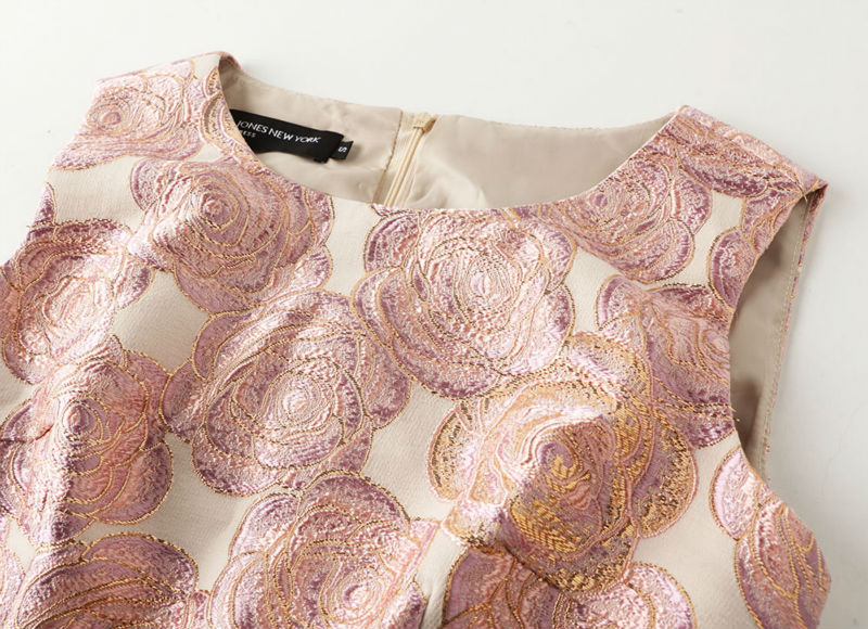 [Limited] Autumn And Winter Vintage Rose Jacquard Embroidery Luxury Gentlewomen Dress Formal Basic Vest One-piece Dress