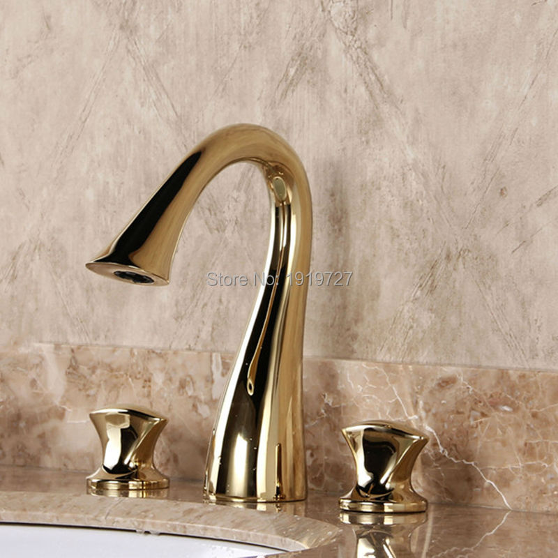 Bathroom Basin Dual Handle Torneira Gold Grifo Gold Double Handle Faucet 3 Hole Mixer Tap free shipping dual handle brass faucet bathroom basin mixer rose gold wash basin tap torneira