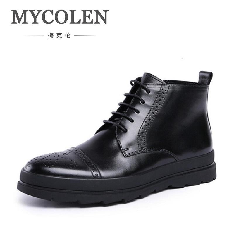 MYCOLEN nouveau mode bottes à lacets haute qualité en cuir véritable hommes bottines Vintage chaussures décontractées botas masculina