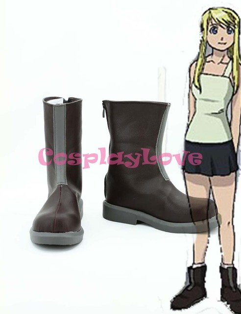 Fullmetal Alchemist Winry Rockbell Cosplay Shoes Boots Custom Made