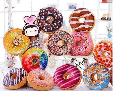 Sweet donut cushion doughnut chocolate cake pillow,home room DIY party decorations children kids girls boys plush toys