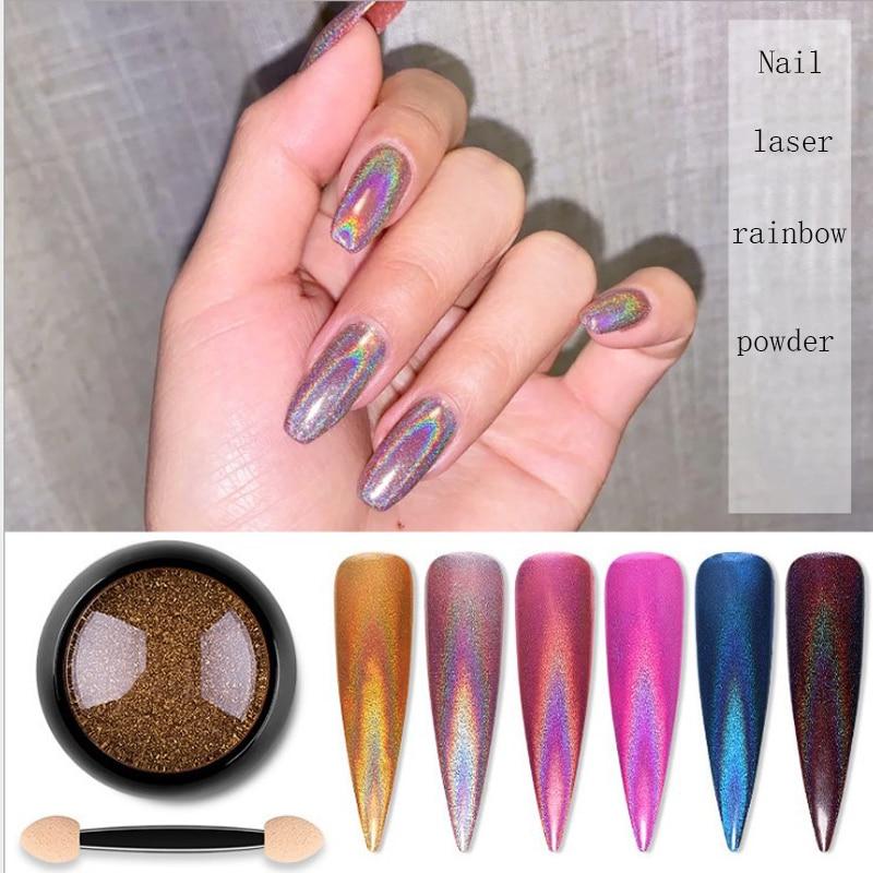 Nail Mirror Glitter Powder Color Nail Art UV Gel Polishing Chrome Flakes Pigment Dust Decorations Manicure 6 color