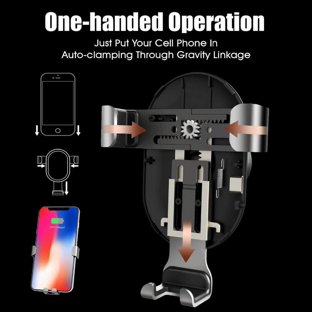 DCAE 10 W Cepat QI Mobil Nirkabel Charger Gravity Holder untuk iPhone - Aksesori dan suku cadang ponsel - Foto 2