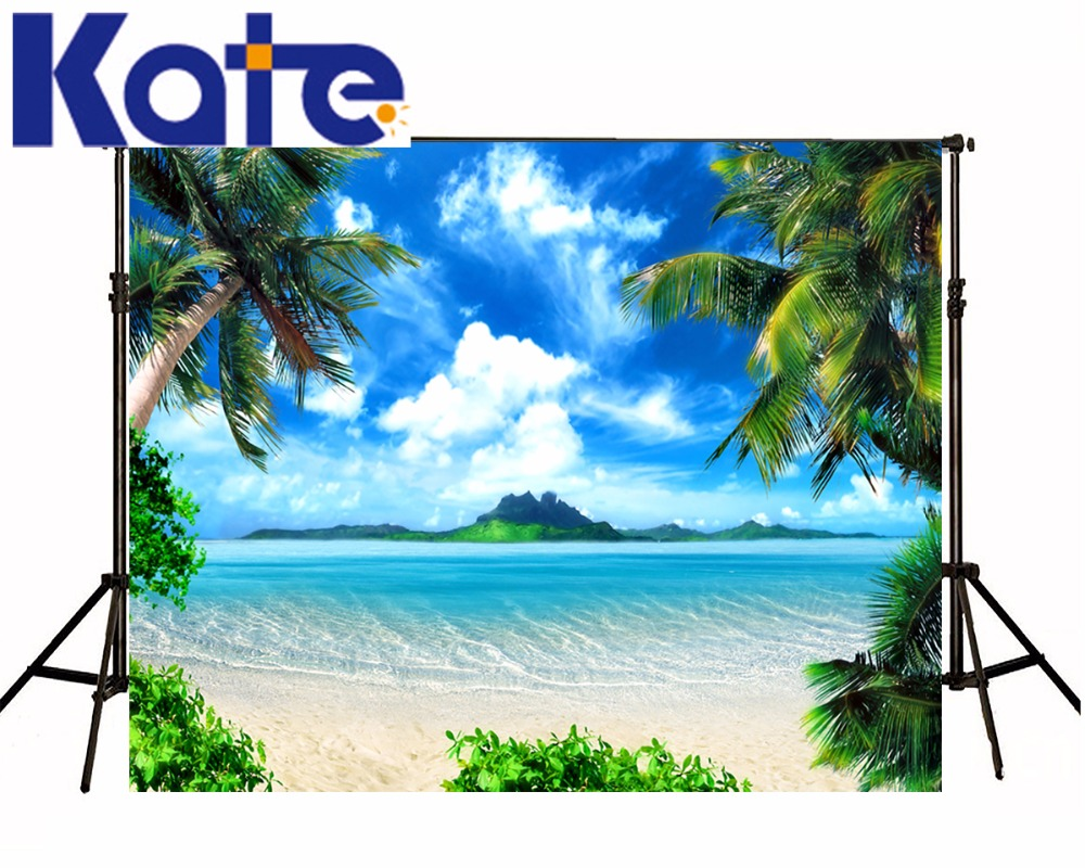 Kate Beach Photo Background 3D Blue Sky White Cloud Photographic Background Coconut Tree backgrounds for photo studio