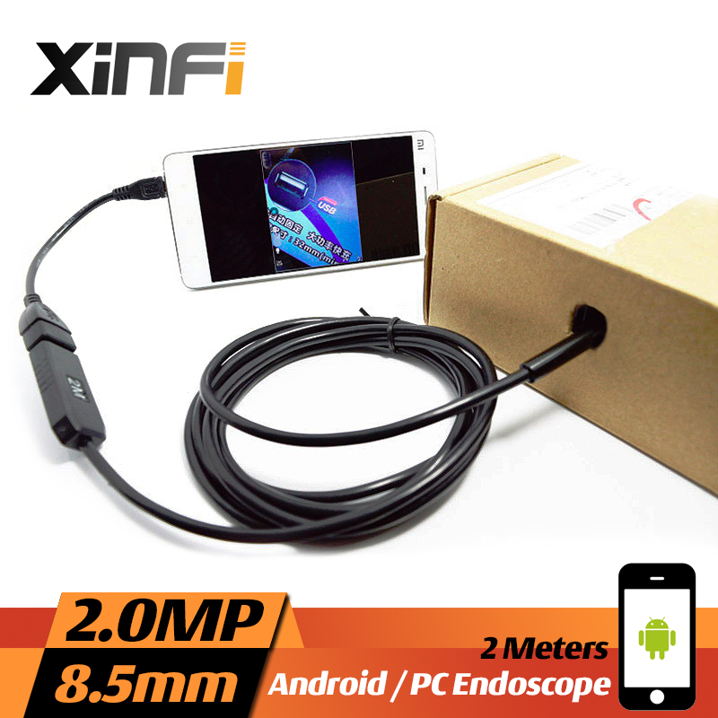 XINFICAM 8.5mm 2.0MP USB Endoscope 2M cable for Android mini pipe sewer camera Borescope OTG USB Snake Camera car inspection dhlfree wp71 50m sewer drain pipe inspection camera system 7 lcd video snake pipeline endoscope borescope underwater mini camera