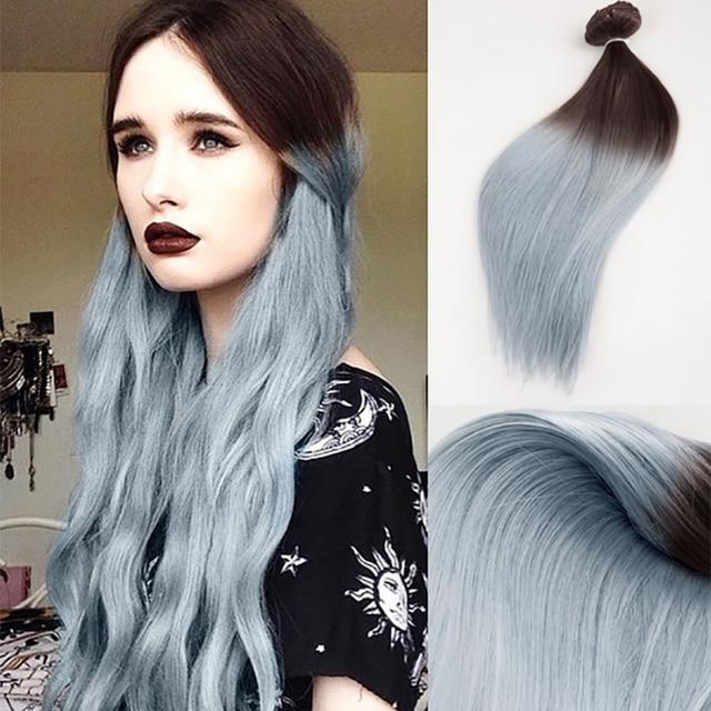 Clip Ins 2 Grau Haar Dunkelbraun Bis Grau Ombre Balayage