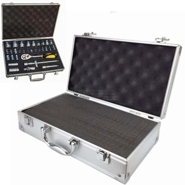 Caso o equipamento de segurança caixa de ferramenta portátil de alumínio ao ar livre caixa de instrumento Mala caixa de armazenamento de hardware com pré-corte esponja