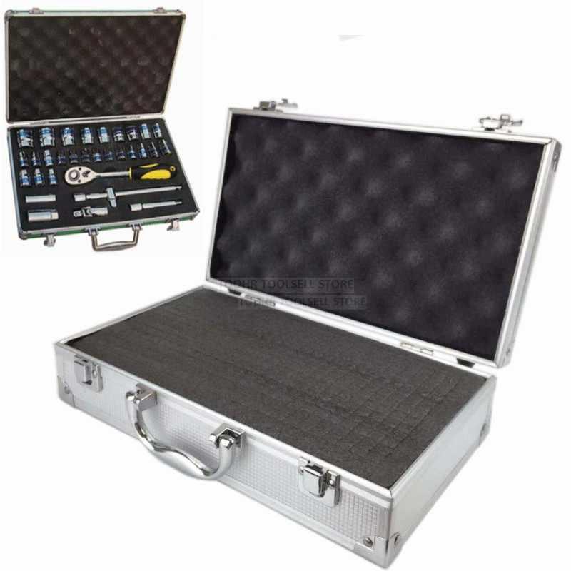 Draagbare aluminium gereedschapskist outdoor veiligheid apparatuur case instrument doos Koffer hardware opbergdoos met pre-cut spons