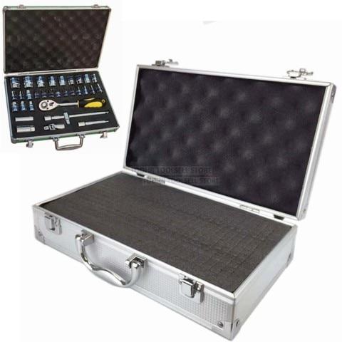 Caixa de Ferramentas de Alumínio Portátil ao ar Equipamento de Segurança Caixa de Armazenamento de Ferragem Mala com Esponja Livre Case Instrumento Pré-corte