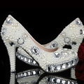 Woman Luxury Handmade Crystal Pearl Bridal Wedding Shoes Lady Stiletto heel Rhinestone Dress Shoes Pumps Bride Party Shoes
